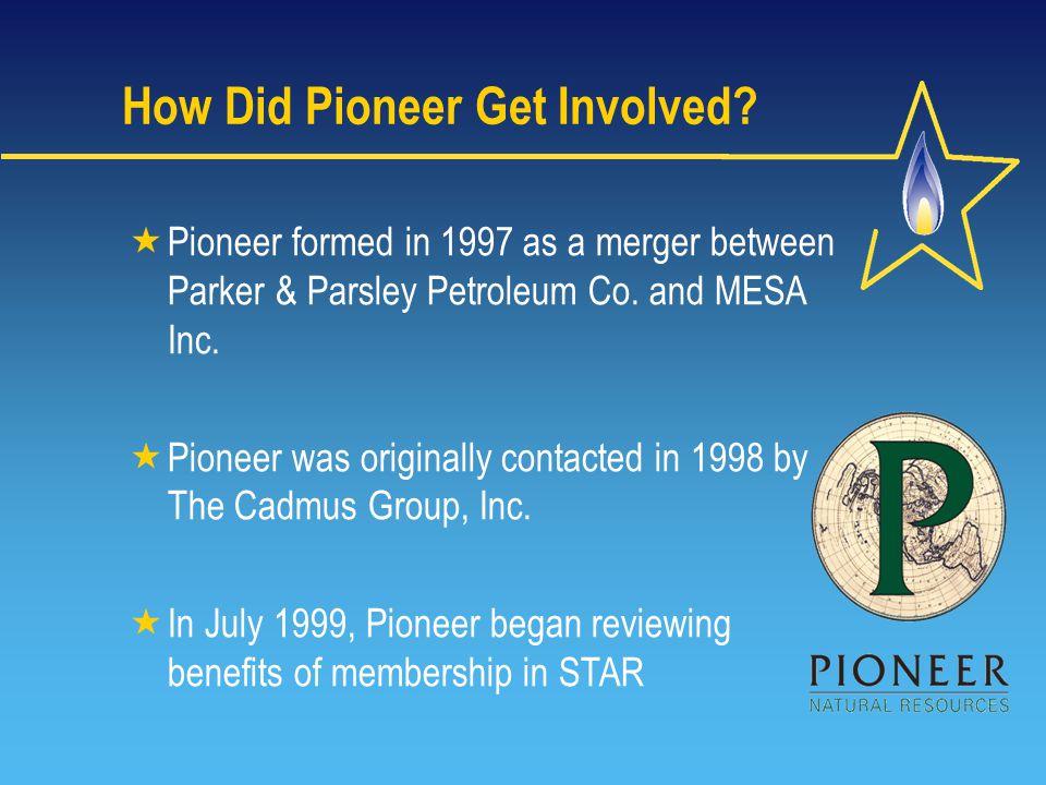  Pioneer formed in 1997 as a merger between Parker & Parsley Petroleum Co.