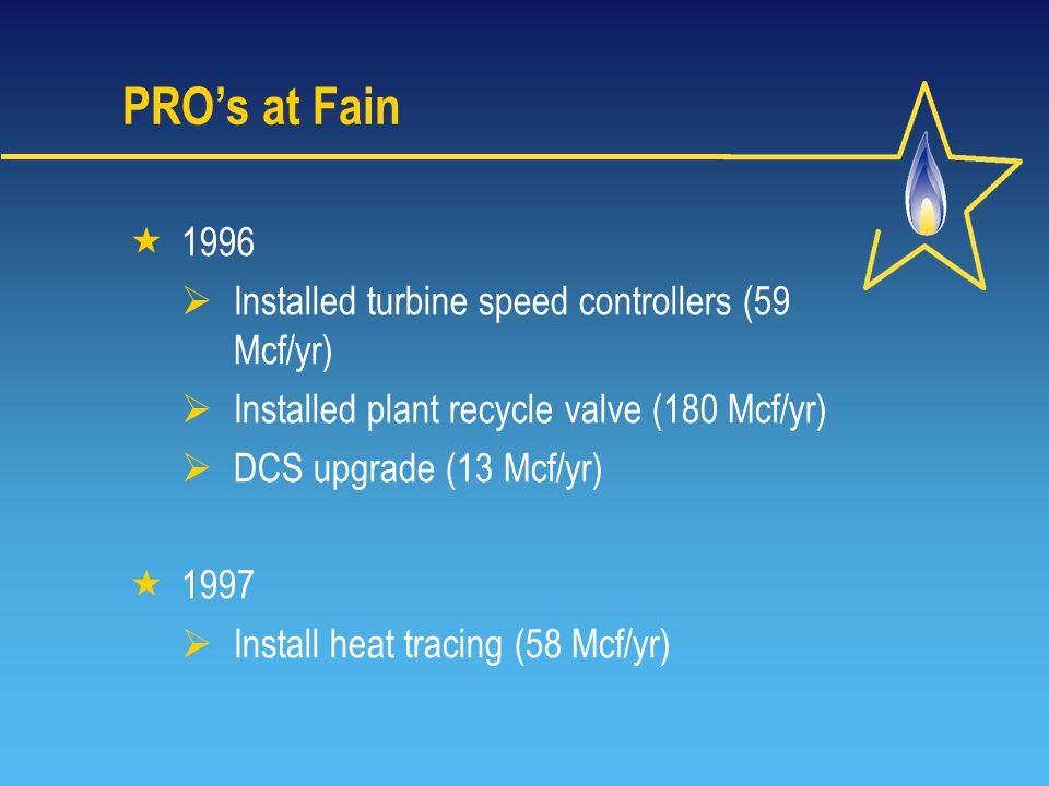 PRO's at Fain  1996  Installed turbine speed controllers (59 Mcf/yr)  Installed plant recycle valve (180 Mcf/yr)  DCS upgrade (13 Mcf/yr)  1997  Install heat tracing (58 Mcf/yr)