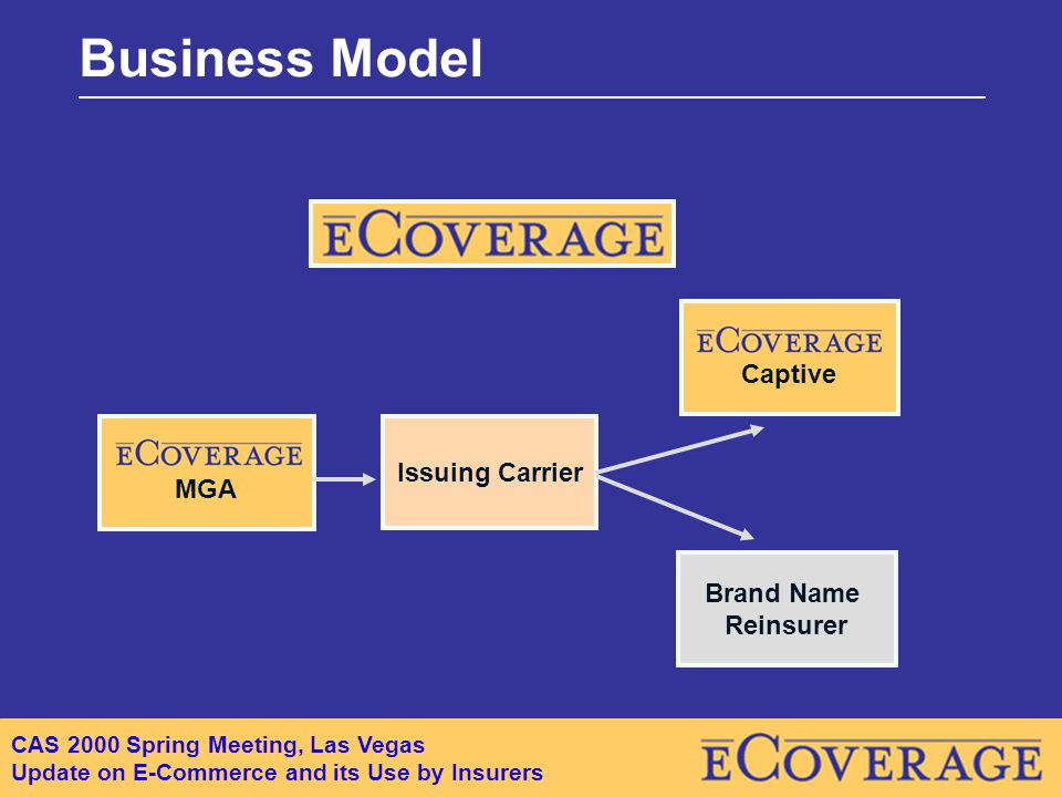 CAS 2000 Spring Meeting, Las Vegas Update on E-Commerce and its Use by Insurers Business Model Issuing Carrier Brand Name Reinsurer MGA Captive