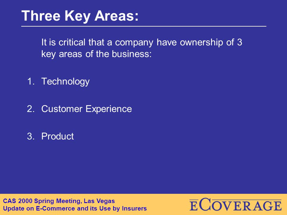 CAS 2000 Spring Meeting, Las Vegas Update on E-Commerce and its Use by Insurers Three Key Areas: It is critical that a company have ownership of 3 key areas of the business: 1.Technology 2.Customer Experience 3.Product