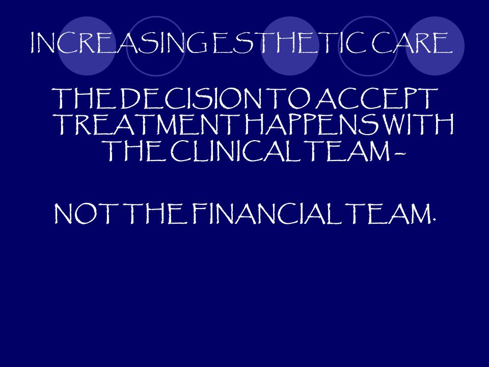INCREASING ESTHETIC CARE THE DECISION TO ACCEPT TREATMENT HAPPENS WITH THE CLINICAL TEAM – NOT THE FINANCIAL TEAM.