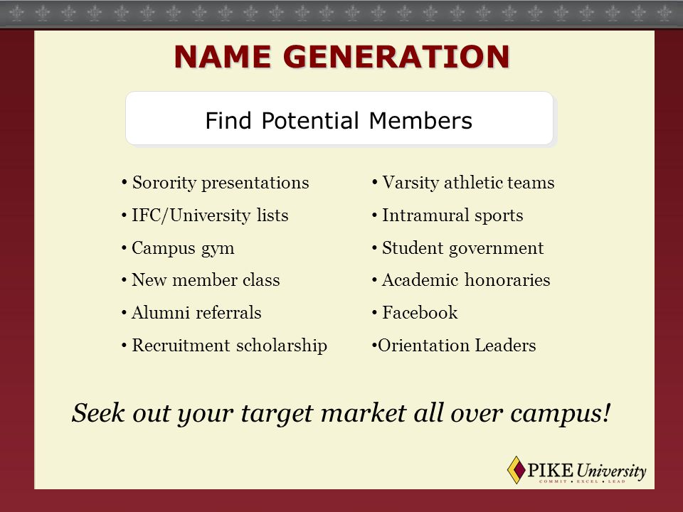 Find Potential Members Sorority presentations IFC/University lists Campus gym New member class Alumni referrals Recruitment scholarship Varsity athletic teams Intramural sports Student government Academic honoraries Facebook Orientation Leaders Seek out your target market all over campus.