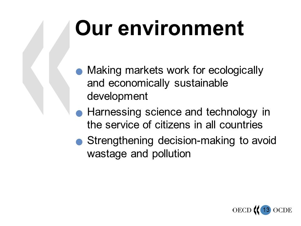 13 Our environment Making markets work for ecologically and economically sustainable development Harnessing science and technology in the service of citizens in all countries Strengthening decision-making to avoid wastage and pollution