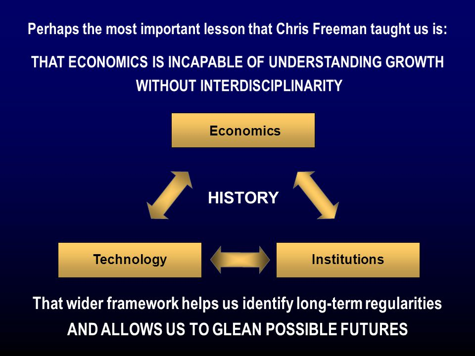 Economics TechnologyInstitutions HISTORY Perhaps the most important lesson that Chris Freeman taught us is: That wider framework helps us identify long-term regularities THAT ECONOMICS IS INCAPABLE OF UNDERSTANDING GROWTH WITHOUT INTERDISCIPLINARITY AND ALLOWS US TO GLEAN POSSIBLE FUTURES