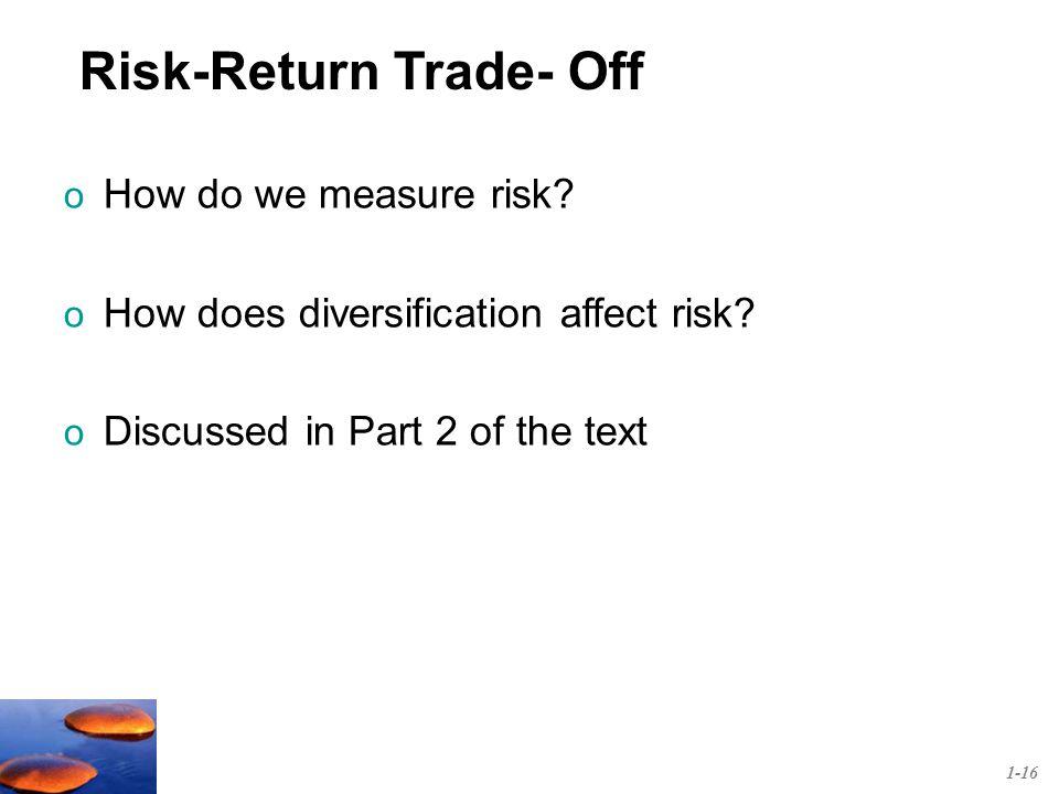 o How do we measure risk. o How does diversification affect risk.