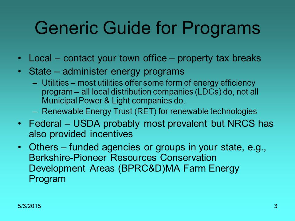 MFEP Audits & Incentives MFEP incentives based on projected energy savings from energy efficiency & renewable energy systems * $0.150 incentive per kWh electricity $2.50 incentive per therm natural gas $2.75 incentive per gal propane $3.00 incentive per gal fuel oil *subject to change as needed to meet the intent of the program
