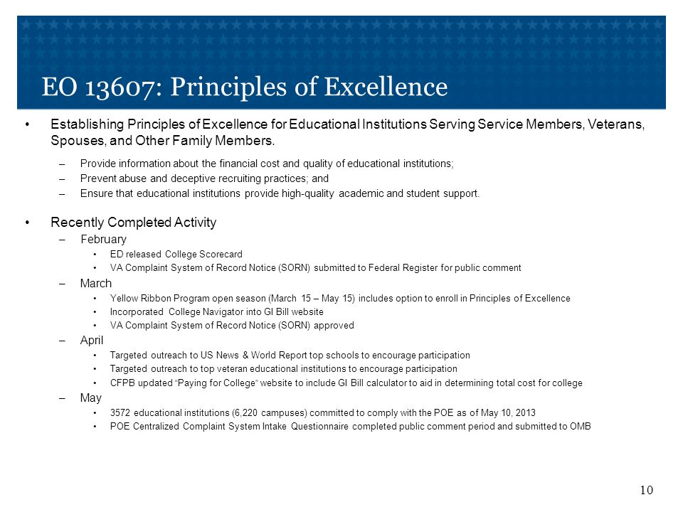 EO 13607: Principles of Excellence 10 Establishing Principles of Excellence for Educational Institutions Serving Service Members, Veterans, Spouses, and Other Family Members.