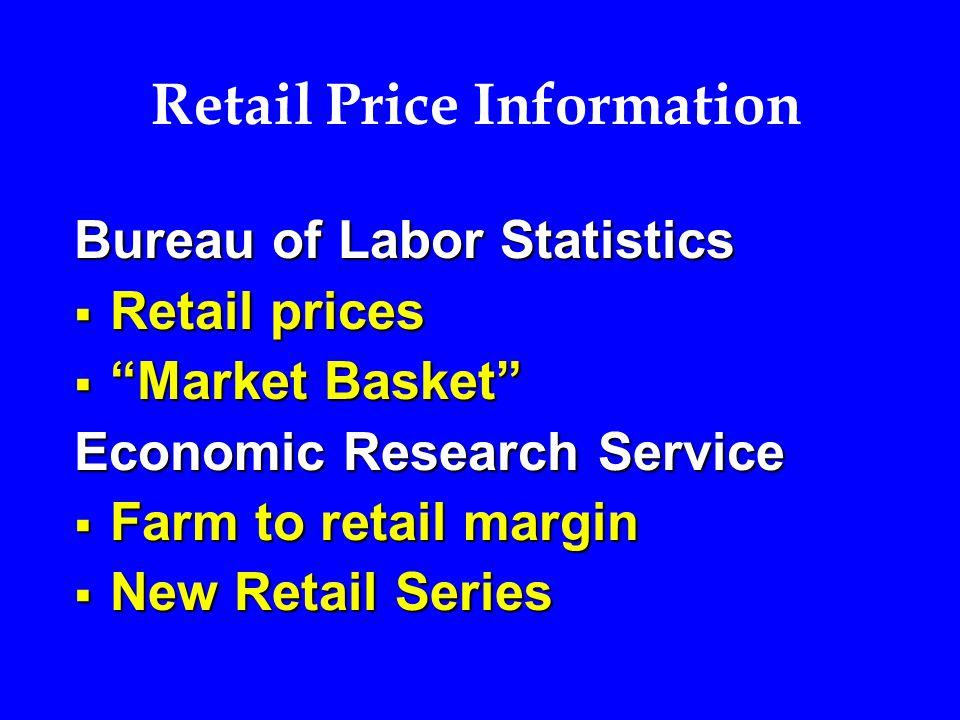 Retail Price Information Bureau of Labor Statistics  Retail prices  Market Basket Economic Research Service  Farm to retail margin  New Retail Series