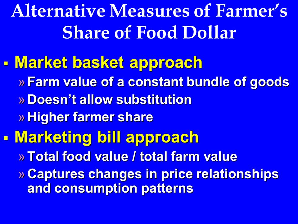 Alternative Measures of Farmer's Share of Food Dollar  Market basket approach »Farm value of a constant bundle of goods »Doesn't allow substitution »Higher farmer share  Marketing bill approach »Total food value / total farm value »Captures changes in price relationships and consumption patterns