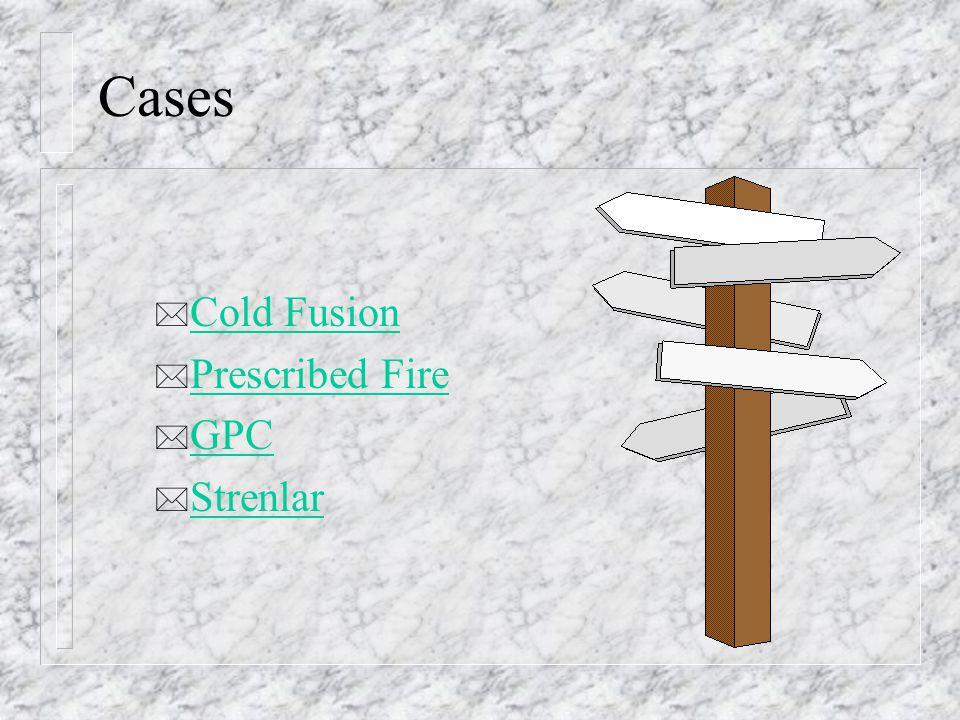 Cases * Cold Fusion Cold Fusion * Prescribed Fire Prescribed Fire * GPC GPC * Strenlar Strenlar