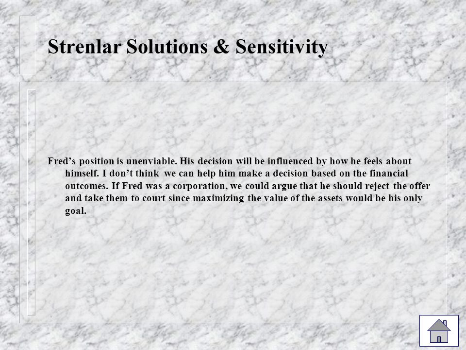 Strenlar Solutions & Sensitivity Fred's position is unenviable.