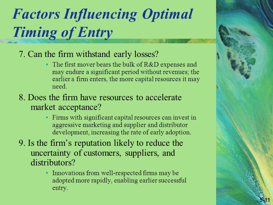 5-11 Factors Influencing Optimal Timing of Entry 7.
