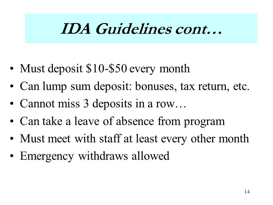 14 IDA Guidelines Must deposit $10-$50 every month Can lump sum deposit: bonuses, tax return, etc.