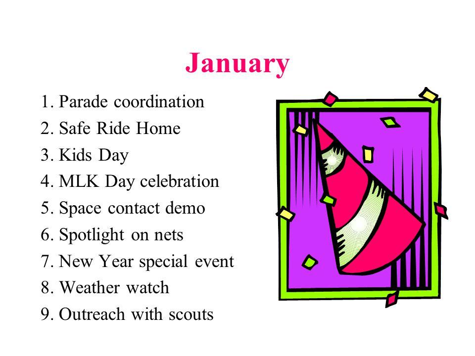 February 1.Presidents Day Event 2. Valentine Radiograms 3.