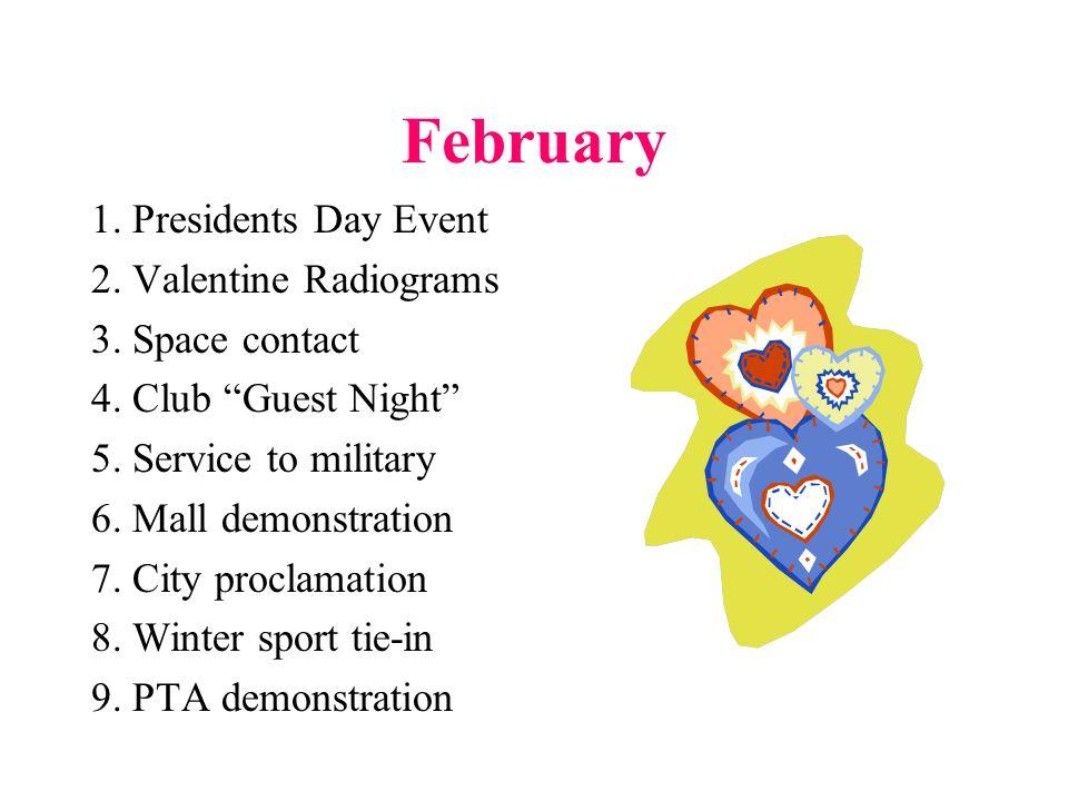 March 1.Contest spotlight 2. DF demo (T-hunt) 3. Nat'l Red Cross Month 4.