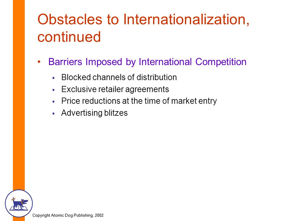 Copyright Atomic Dog Publishing, 2002 Obstacles to Internationalization, continued Barriers Imposed by International Competition  Blocked channels of