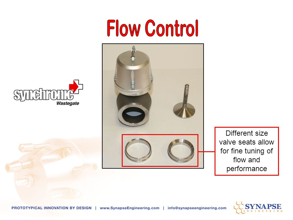 Different size valve seats allow for fine tuning of flow and performance
