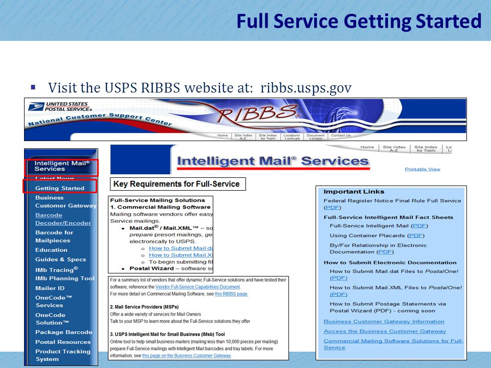 19 Full Service Getting Started  Visit the USPS RIBBS website at: ribbs.usps.gov