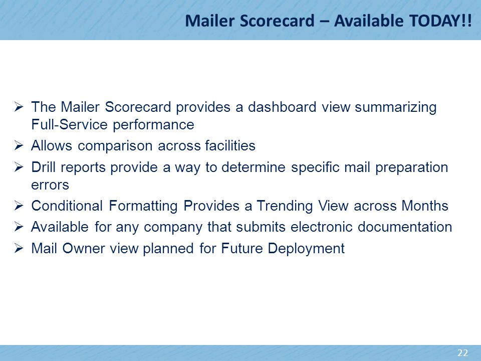 Mailer Scorecard – Available TODAY!.