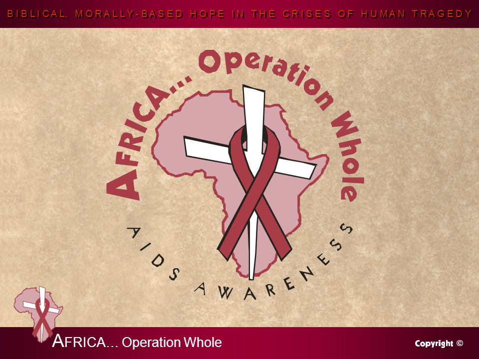 B I B L I C A L, M O R A L L Y - B A S E D H O P E I N T H E C R I S E S O F H U M A N T R A G E D Y A FRICA… Operation Whole