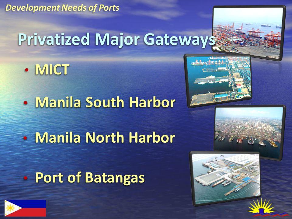 Development Needs of Ports Privatized Major Gateways MICT Manila South Harbor Manila South Harbor Port of Batangas Port of Batangas Manila North Harbo