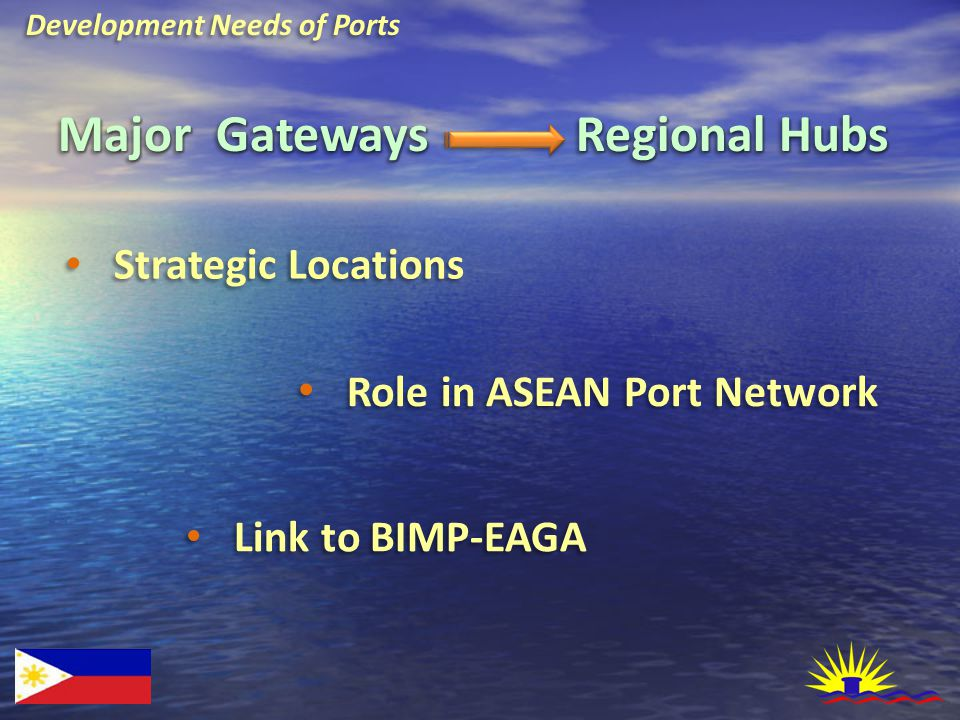 Development Needs of Ports Major Gateways Strategic Locations Role in ASEAN Port Network Link to BIMP-EAGA Regional Hubs