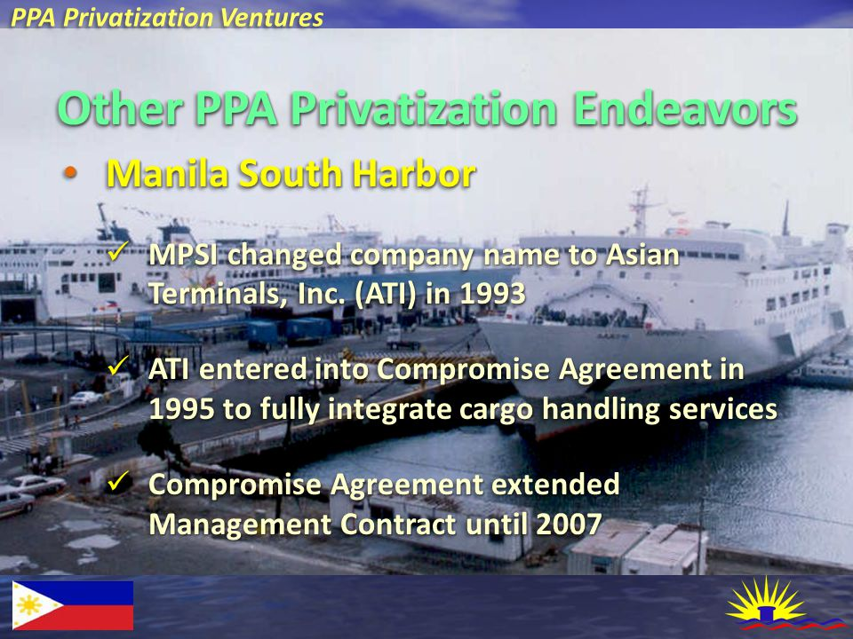 PPA Privatization Ventures Other PPA Privatization Endeavors Manila South Harbor Manila South Harbor MPSI changed company name to Asian Terminals, Inc