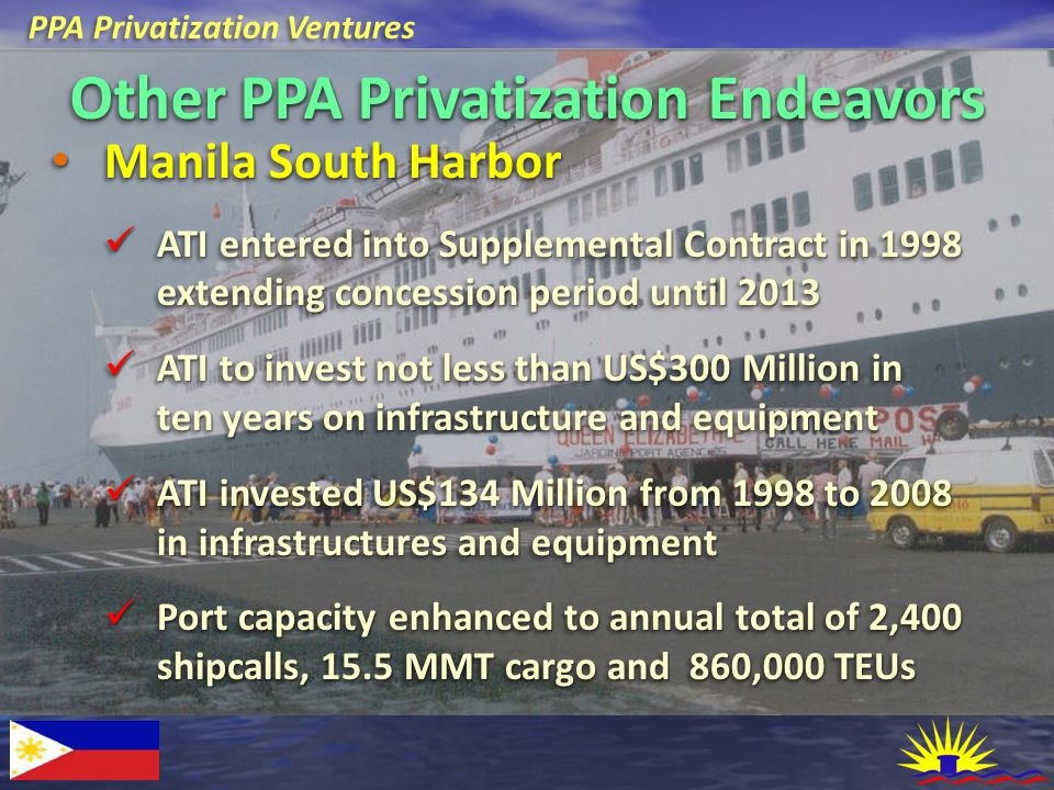 PPA Privatization Ventures Other PPA Privatization Endeavors Manila South Harbor Manila South Harbor ATI entered into Supplemental Contract in 1998 ex