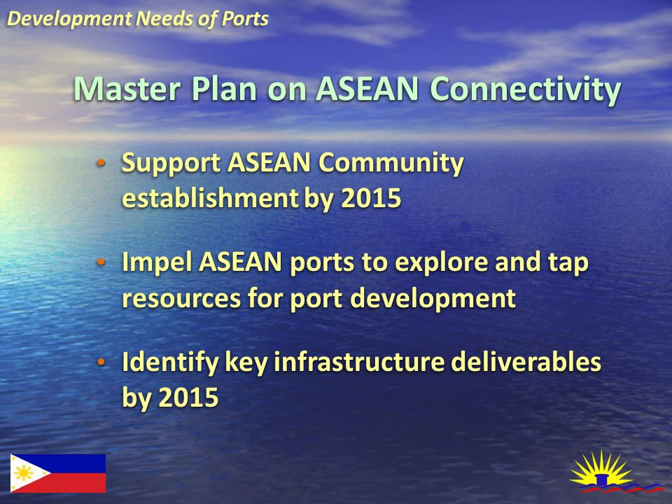 Master Plan on ASEAN Connectivity Support ASEAN Community establishment by 2015 Support ASEAN Community establishment by 2015 Impel ASEAN ports to explore and tap resources for port development Impel ASEAN ports to explore and tap resources for port development Identify key infrastructure deliverables by 2015 Identify key infrastructure deliverables by 2015 Support ASEAN Community establishment by 2015 Support ASEAN Community establishment by 2015 Impel ASEAN ports to explore and tap resources for port development Impel ASEAN ports to explore and tap resources for port development Identify key infrastructure deliverables by 2015 Identify key infrastructure deliverables by 2015 Development Needs of Ports