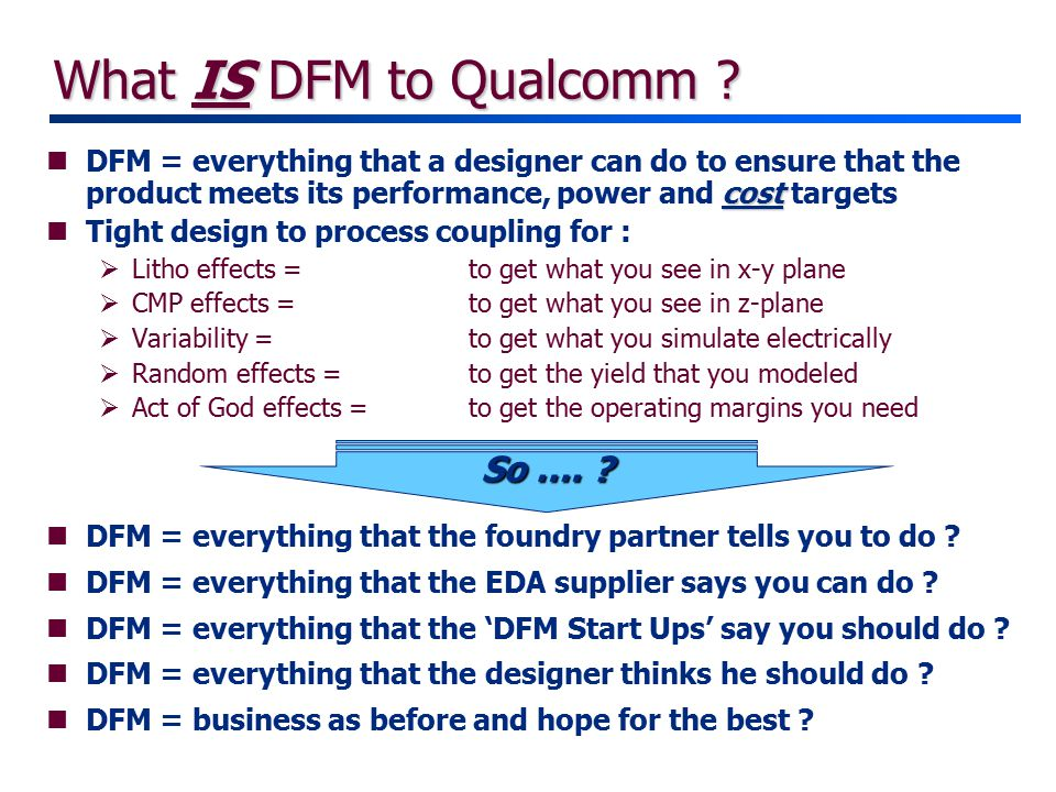 What IS DFM to Qualcomm .