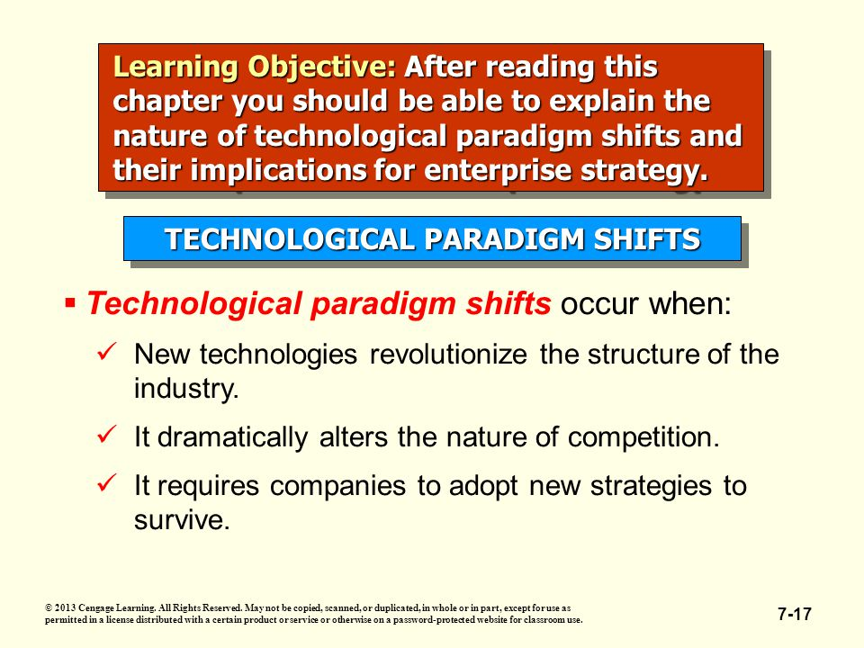 7-17 Learning Objective:After reading this chapter you should be able to explain the nature of technological paradigm shifts and their implications for enterprise strategy.