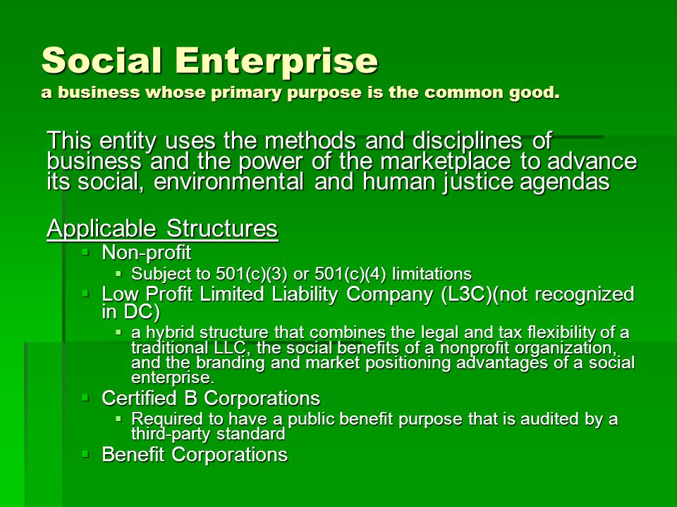 Social Enterprise a business whose primary purpose is the common good. This entity uses the methods and disciplines of business and the power of the m