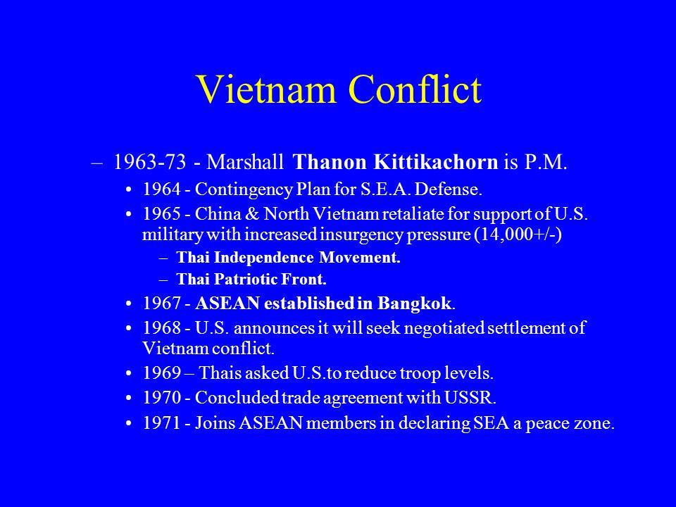 Vietnam Conflict –1963-73 - Marshall Thanon Kittikachorn is P.M.