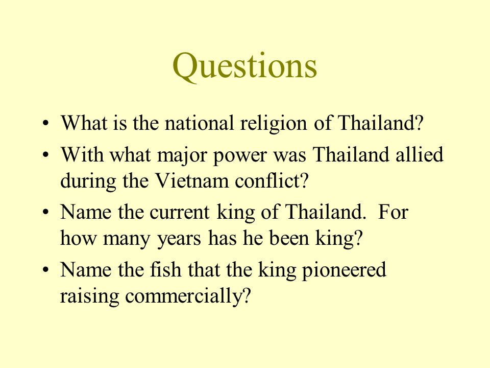 Questions What is the national religion of Thailand.