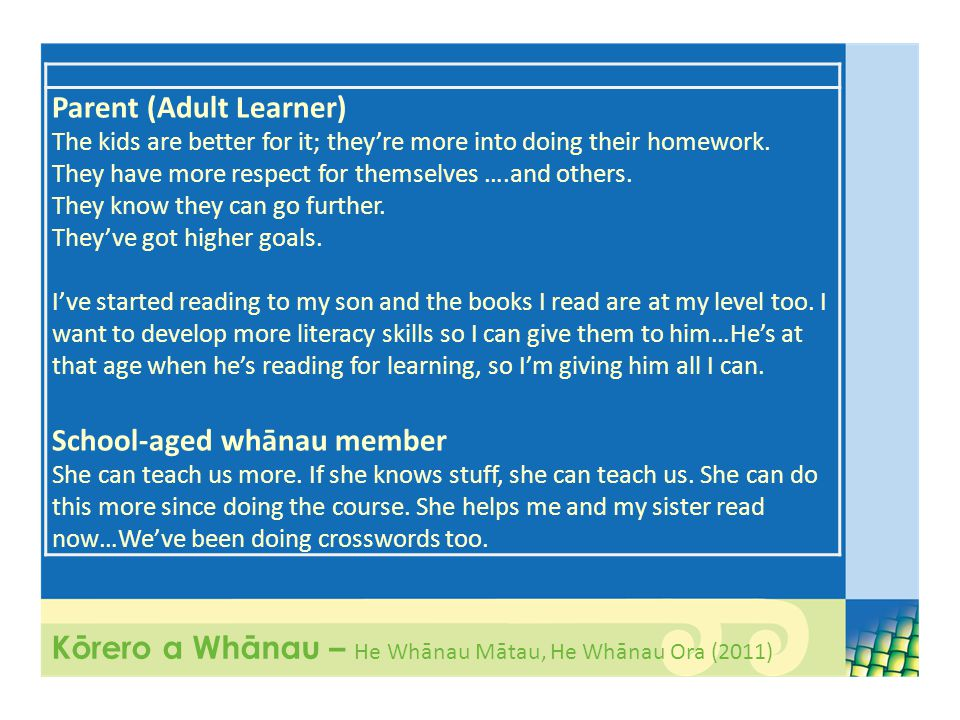 Parent (Adult Learner) The kids are better for it; they're more into doing their homework.