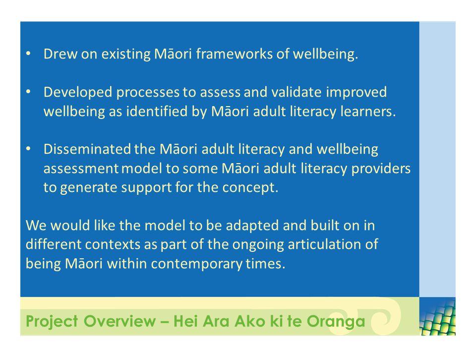 Project Overview – Hei Ara Ako ki te Oranga Drew on existing Māori frameworks of wellbeing.
