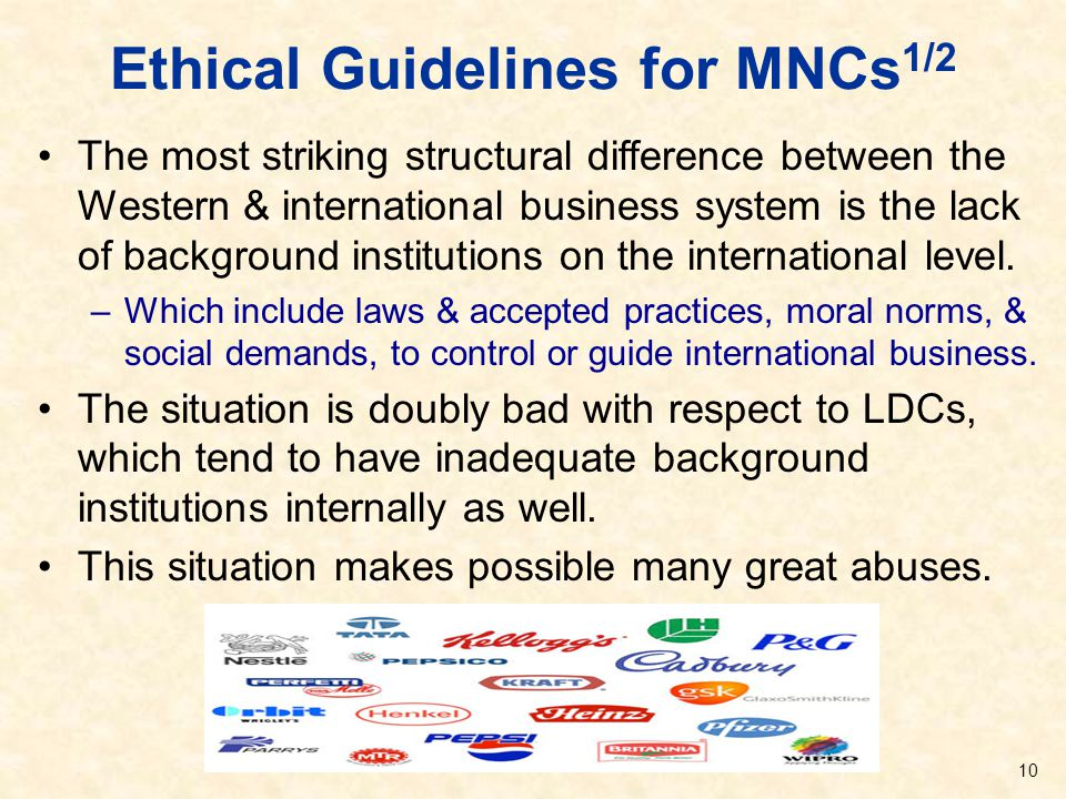 Ethical Guidelines for MNCs 1/2 The most striking structural difference between the Western & international business system is the lack of background