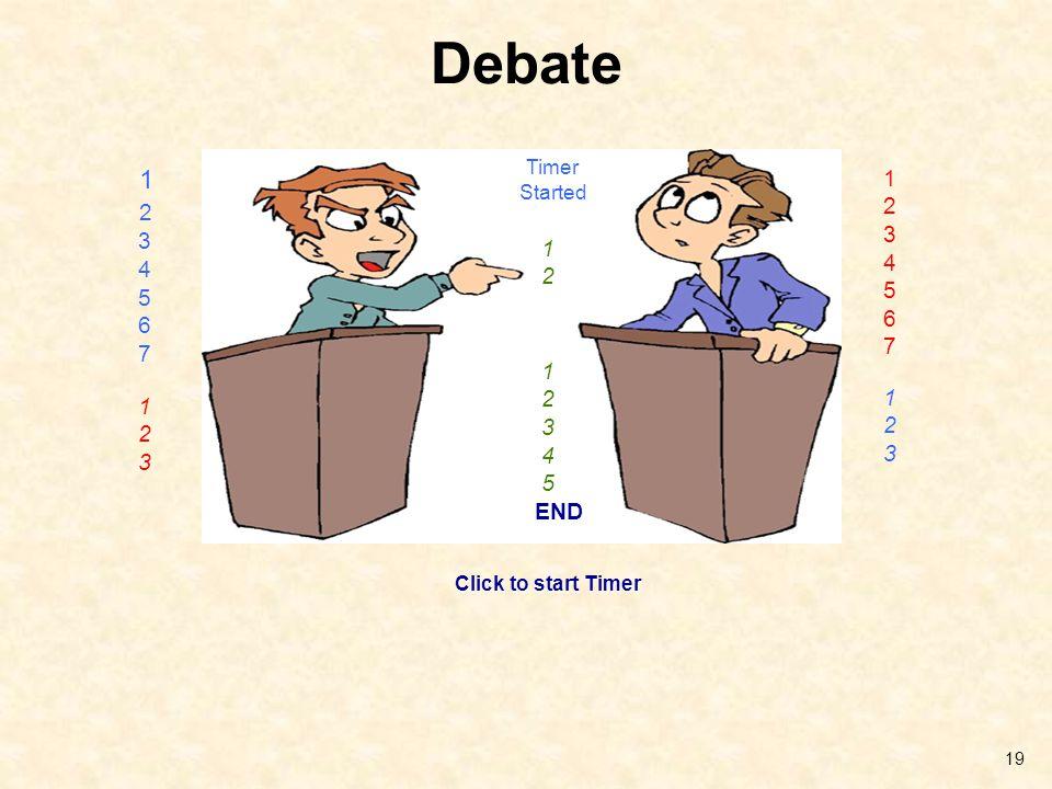 Debate 19 1 2 3 4 5 6 7 1 2 3 4 5 6 7 Click to start Timer 1 2 3 1 2 3 Timer Started 1 2 1 2 3 4 5 END