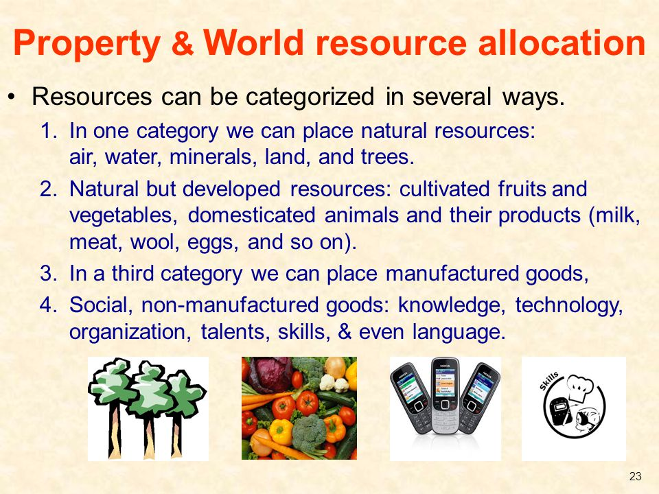 Property & World resource allocation Resources can be categorized in several ways. 1.In one category we can place natural resources: air, water, miner