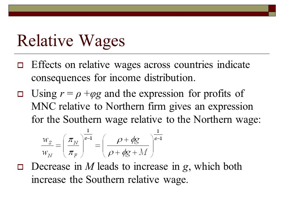 Relative Wages  Effects on relative wages across countries indicate consequences for income distribution.