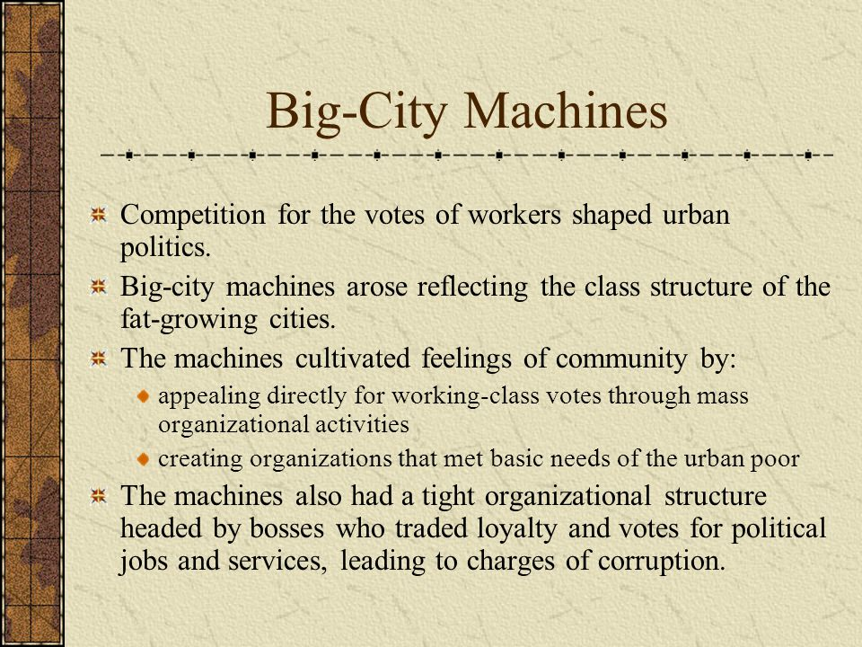 Big-City Machines Competition for the votes of workers shaped urban politics.