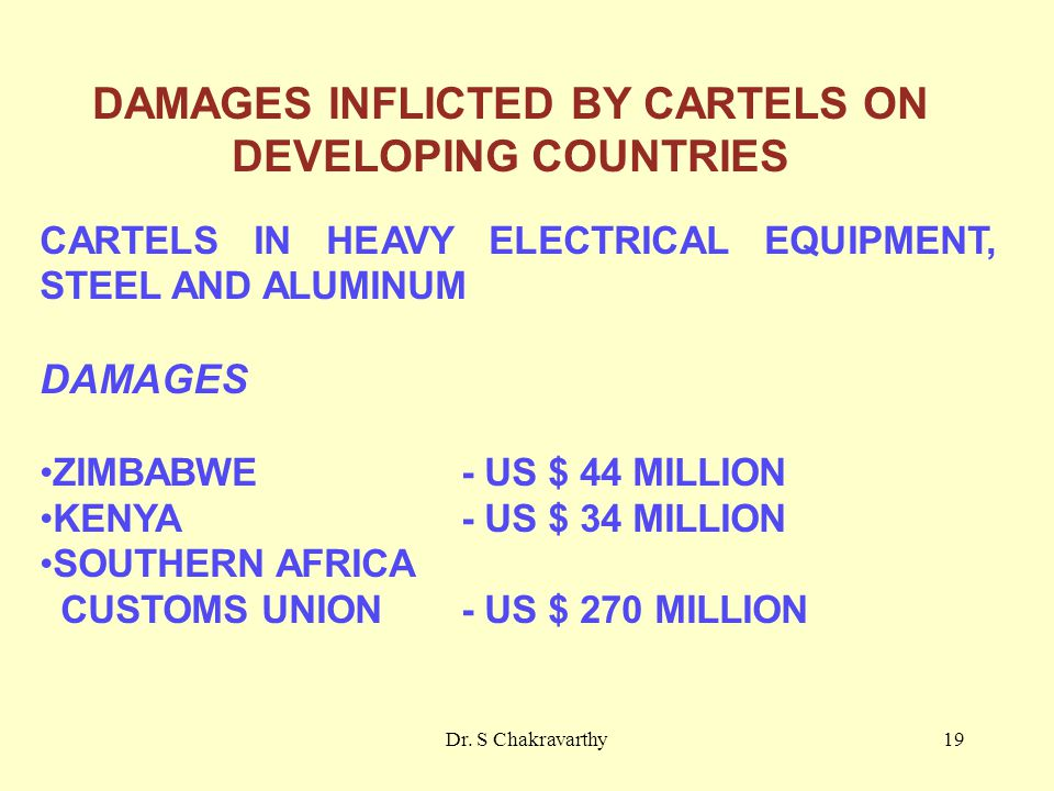 Dr. S Chakravarthy19 DAMAGES INFLICTED BY CARTELS ON DEVELOPING COUNTRIES CARTELS IN HEAVY ELECTRICAL EQUIPMENT, STEEL AND ALUMINUM DAMAGES ZIMBABWE -