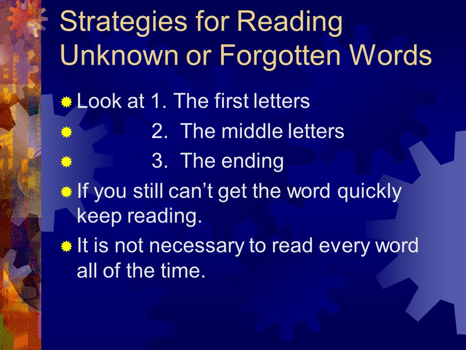 Strategies for Reading Unknown or Forgotten Words  Look at 1.