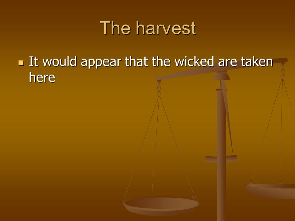 The harvest It would appear that the wicked are taken here It would appear that the wicked are taken here