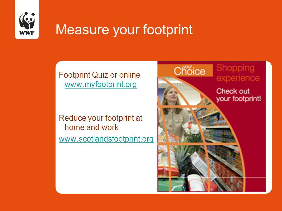Measure your footprint Footprint Quiz or online www.myfootprint.org www.myfootprint.org Reduce your footprint at home and work www.scotlandsfootprint.org