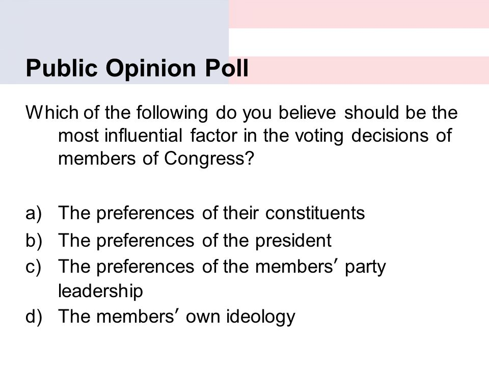 Public Opinion Poll Which of the following do you believe should be the most influential factor in the voting decisions of members of Congress? a)The