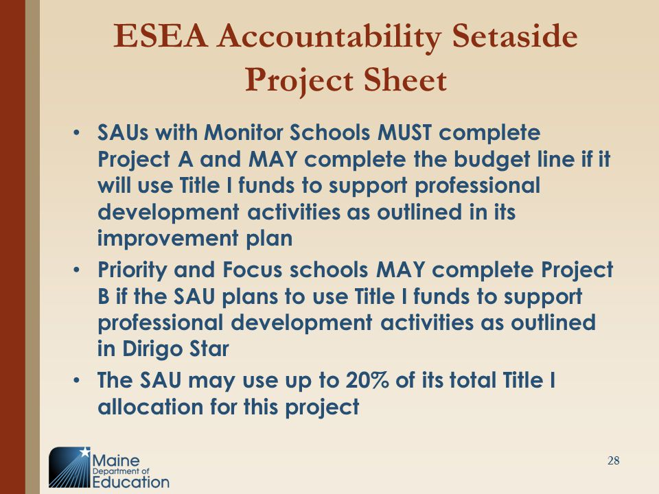 ESEA Accountability Setaside Project Sheet SAUs with Monitor Schools MUST complete Project A and MAY complete the budget line if it will use Title I funds to support professional development activities as outlined in its improvement plan Priority and Focus schools MAY complete Project B if the SAU plans to use Title I funds to support professional development activities as outlined in Dirigo Star The SAU may use up to 20% of its total Title I allocation for this project.