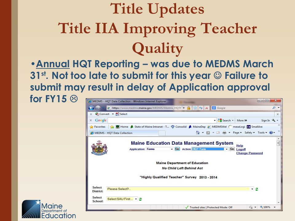 Title Updates Title IIA Improving Teacher Quality Annual HQT Reporting – was due to MEDMS March 31 st. Not too late to submit for this year Failure to