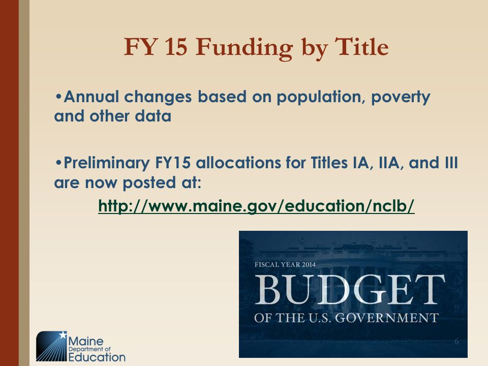 FY 15 Funding by Title Annual changes based on population, poverty and other data Preliminary FY15 allocations for Titles IA, IIA, and III are now pos