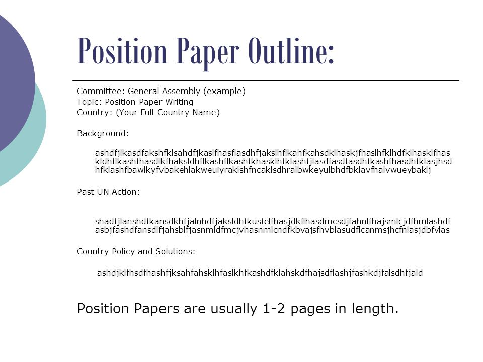 How to write a Position Paper University High School Model United ...